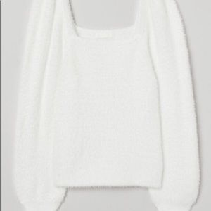 H&M White Fluffy Shaped Sweater